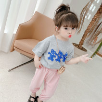 suit Other / other Grey, white 80cm,90cm,100cm,110cm,120cm,130cm female summer Versatile Short sleeve + pants 2 pieces Thin money There are models in the real shooting Socket Solid color other Expression of love Other 100% Chinese Mainland Zhejiang Province Hangzhou