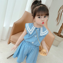 suit Other / other Short sleeve + shorts 80cm,90cm,100cm,110cm,120cm,130cm female summer Korean version Short sleeve + pants 2 pieces Thin money There are models in the real shooting Socket nothing Solid color other children Expression of love other Other 100% Chinese Mainland Zhejiang Province