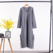 Dress Winter 2020 Gray, black Flat chest 94cm longuette singleton  Long sleeves commute V-neck Loose waist Solid color Socket routine Type H pocket More than 95% wool