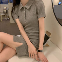 Dress Summer 2021 Gray, white, pink Average size Short skirt singleton  Short sleeve commute Polo collar routine 18-24 years old Other / other Korean version 91% (inclusive) - 95% (inclusive) other