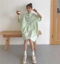 Dress Summer 2021 Mint green, bright red Average size Middle-skirt singleton  Short sleeve commute square neck Loose waist Solid color Single breasted other routine Others Type H Other / other Korean version 81% (inclusive) - 90% (inclusive) other cotton