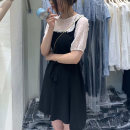Dress Spring 2021 black M, L Mid length dress Fake two pieces Short sleeve Sweet Crew neck High waist Dot Socket A-line skirt puff sleeve Others 25-29 years old Type A Splicing 81% (inclusive) - 90% (inclusive) Chiffon other