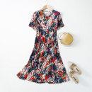 Dress Summer 2020 Bright gold, pink, fireworks black, leaves black L,XL,2XL,3XL Mid length dress Short sleeve Crew neck Loose waist Decor Socket More than 95% knitting silk