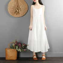 Dress Summer of 2019 White, black, pink, red, light blue, purple Average size Mid length dress singleton  Sleeveless commute Crew neck Loose waist Solid color Socket A-line skirt routine Others 25-29 years old Type A Retro 51% (inclusive) - 70% (inclusive) other cotton