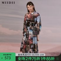 Dress Autumn 2020 Dark green flowers S M L XL XXL longuette singleton  Long sleeves commute Polo collar middle-waisted Single breasted A-line skirt routine 25-29 years old Type A The answer Retro printing 203ML1940 More than 95% cotton Cotton 100% Same model in shopping mall (sold online and offline)