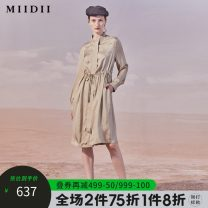Dress Autumn 2020 S M L XL XXL longuette singleton  Long sleeves commute stand collar middle-waisted zipper other routine 25-29 years old Type H The answer Retro More than 95% other Regenerated cellulose fiber 100% Same model in shopping mall (sold online and offline)