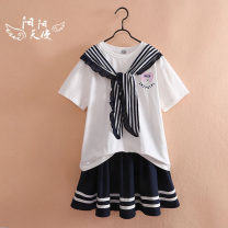 suit Jimi Garden 140cm,150cm,160cm,170cm female summer leisure time Short sleeve + skirt 2 pieces Thin money No model Socket nothing Solid color cotton children Expression of love Class B Other 100% 8, 9, 10, 11, 12, 13, 14 Chinese Mainland
