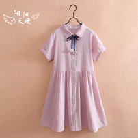 Dress female Other / other 140cm,150cm,160cm,165cm Cotton 100% summer Korean version Short sleeve Solid color cotton other Class B 8, 9, 10, 11, 12, 13, 14 Chinese Mainland
