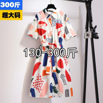 Dress Spring 2021 Decor 2XL,3XL,4XL,5XL,6XL Mid length dress singleton  Short sleeve commute High waist Decor 25-29 years old Type H Korean version B60455-79
