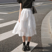 skirt Spring 2021 S,M,L White - Floral Skirt longuette commute High waist A-line skirt Solid color Type A 18-24 years old other Other / other cotton fold