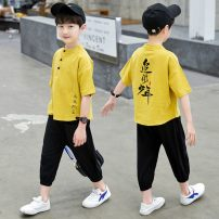 suit Other / other White, yellow, brown 110cm,120cm,130cm,140cm,150cm,160cm male summer Chinese style Short sleeve + pants 2 pieces Thin money There are models in the real shooting Socket nothing printing cotton children Expression of love Youth A01 Class B 2, 3, 4, 5, 6, 7, 8, 9, 10, 11 Huzhou City