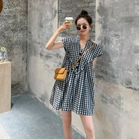 Casual pants Black check S,M,L,XL Summer 2020 shorts Jumpsuit High waist commute Thin money 18-24 years old 81% (inclusive) - 90% (inclusive) P505 Other / other Korean version cotton