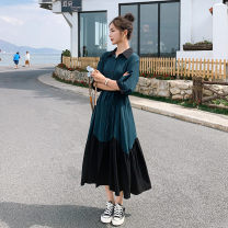 Dress Summer 2021 blackish green S,M,L,XL longuette singleton  Short sleeve commute Polo collar Elastic waist Solid color Single breasted A-line skirt puff sleeve Others 18-24 years old Type A Korean version Bow, lace, Ruffle Q800 30% and below polyester fiber