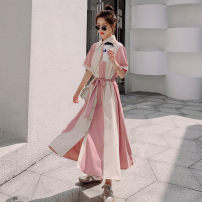 Dress Summer 2021 Pink S,M,L Mid length dress singleton  Long sleeves commute Lotus leaf collar Elastic waist Solid color Single breasted Big swing routine Others 18-24 years old Type H Korean version Stitching, lacing Q785 30% and below other polyester fiber