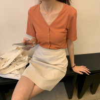 skirt Summer 2021 S, M Navy, light apricot Short skirt Versatile High waist other other Type A 18-24 years old P1388 30% and below other polyester fiber