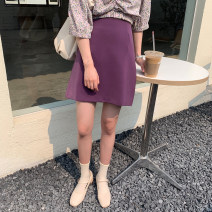 skirt Spring 2021 S, M Grape purple in stock Short skirt Retro Natural waist A-line skirt Solid color Type A 18-24 years old E4241 30% and below polyester fiber