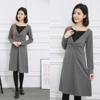 Dress Other / other Black, gray Other sizes leisure time Long sleeves Medium length autumn V-neck Solid color M-8030