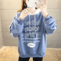 Sweater / sweater Spring 2020 Sapphire blue, lemon yellow, black M,L,XL,2XL Long sleeves routine Socket singleton  Thin money Hood easy commute routine letter 18-24 years old 30% and below cotton R232 A-05 cotton Cotton liner