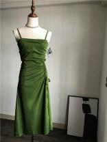 Dress Summer of 2019 Green, black S,M,L,XL Mid length dress singleton  Sleeveless commute One word collar High waist Solid color zipper Irregular skirt camisole Type H Korean version
