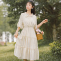 Dress Summer 2021 Green, apricot, light yellow S,M,L Mid length dress singleton  Short sleeve commute other High waist Solid color Socket A-line skirt Lotus leaf sleeve Others 18-24 years old Type A literature Bow, ruffle, stitching Chiffon