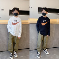 T-shirt Pudding pudding male spring and autumn Long sleeves Crew neck Original design There are models in the real shooting nothing cotton Solid color Cotton 100% Four, five, six, seven, eight, nine, ten, eleven, twelve, thirteen, fourteen
