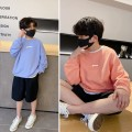 Sweater / sweater Pudding pudding Bright orange, bright blue male spring and autumn nothing leisure time Socket routine There are models in the real shooting cotton Solid color Cotton 70.8% polyester 29.2% Class B Cotton liner