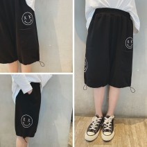 trousers Pudding pudding male black summer Capris leisure time There are models in the real shooting Sports pants Leather belt middle-waisted cotton Don't open the crotch Cotton 100% Class B Four, five, six, seven, eight, nine, ten, eleven, twelve, thirteen, fourteen Chinese Mainland Taizhou City