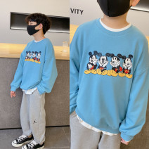 Sweater / sweater Pudding pudding sky blue male spring and autumn nothing Korean version Socket There are models in the real shooting cotton Cartoon animation Cotton 70.8% polyester 29.2%