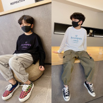 T-shirt Black, white Pudding pudding male spring Long sleeves Crew neck leisure time There are models in the real shooting nothing cotton letter Cotton 100% other Sweat absorption 4, 5, 6, 7, 8, 9, 10, 11, 12, 13, 14, 14 and above