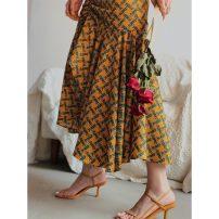skirt Summer 2020 S,M,L golden Mid length dress Retro High waist Irregular Decor Type A 25-29 years old