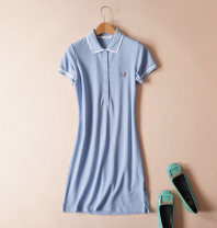 Dress Summer of 2019 Black, light green, treasure blue, light blue, jujube red M. L, XL, 2XL, 3XL, no pilling, no fading, no shrinking longuette singleton  Short sleeve commute Polo collar middle-waisted Solid color Socket routine Type A Ol style 51% (inclusive) - 70% (inclusive) other cotton