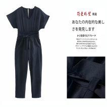 Jumpsuit / pants 51% (inclusive) - 70% (inclusive) trousers other High waist Versatile Orange, Navy S,M,L,XS Summer 2020
