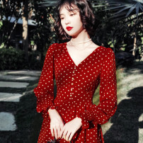 Dress Spring 2020 S,M,L Mid length dress singleton  Long sleeves commute V-neck middle-waisted Dot Socket A-line skirt Petal sleeve Others 25-29 years old Retro 81% (inclusive) - 90% (inclusive) Chiffon polyester fiber