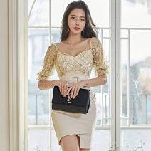 Dress Summer 2020 Apricot S,M,L,XL Short skirt singleton  elbow sleeve commute V-neck High waist Solid color Pencil skirt Sleeve 25-29 years old Type X Korean version YJ7002 31% (inclusive) - 50% (inclusive) Vinylon
