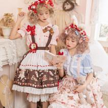 skirt Summer 2020 S. M, l, XL, 2XL, customized Light yellow, pink, brown Short skirt Sweet Natural waist Fluffy skirt Hand painted Type A Lolita