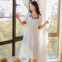 Dress Summer 2021 white S,M,L Mid length dress singleton  Short sleeve Sweet other High waist Solid color Socket Princess Dress routine Others Type A Splicing 31% (inclusive) - 50% (inclusive) Chiffon