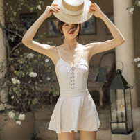 one piece  other M,L,XL Beige grid, gray grid Skirt one piece With chest pad without steel support female Sleeveless Casual swimsuit backless