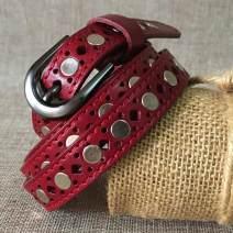 Belt / belt / chain top layer leather Red, green female Pin buckle 1.8cm alloy 110cm,105cm,100cm,95cm,90cm