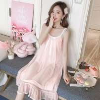 Dress Summer 2021 506 ᦇ white, 506 ᦇ shrimp S,M,L,XL Middle-skirt Crew neck Solid color TianDai lace cotton