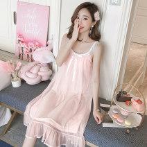 Dress Summer 2021 506 ᦇ white, 506 ᦇ shrimp S,M,L,XL Middle-skirt Crew neck Solid color TianDai lace cotton