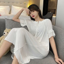 Dress Summer 2021 White, gray, blue, turmeric, army green M,L,XL,XXL Mid length dress Short sleeve Sweet Crew neck Solid color Socket TianDai lace cotton