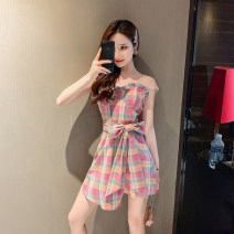 Dress Summer 2020 Picture color S,M,L Short skirt singleton  Sleeveless commute V-neck High waist lattice zipper A-line skirt other Others 18-24 years old Type A Korean version 30% and below brocade polyester fiber
