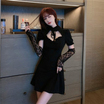 Dress Spring 2021 black Average size Short skirt singleton  Short sleeve commute Lotus leaf collar High waist Solid color Socket Big swing routine Others 18-24 years old Type A Korean version Lace, lace, stitching, lace 71% (inclusive) - 80% (inclusive) other cotton