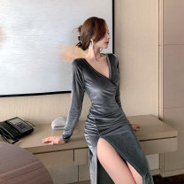 Dress Winter 2020 dark grey S,M,L Mid length dress singleton  Long sleeves commute V-neck High waist Solid color Socket One pace skirt routine Others 18-24 years old T-type court Pleats, stitches, zippers 30% and below Flannel polyester fiber