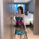 Dress Spring 2021 Picture color S,M,L Short skirt singleton  Sleeveless commute V-neck High waist Solid color Socket One pace skirt routine camisole 18-24 years old Type A Retro Sequins 30% and below brocade polyester fiber