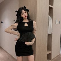 Dress Winter 2020 black S,M,L,XL Short skirt singleton  Long sleeves commute Crew neck High waist Solid color Socket One pace skirt raglan sleeve Others 18-24 years old Type H Korean version Lotus leaf edge 31% (inclusive) - 50% (inclusive) Lace cotton