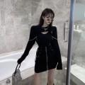 Fashion suit Autumn 2020 S. M, l, average size Two piece black sweater and black skirt