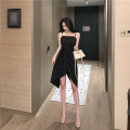 Dress Summer 2020 black S,M,L Miniskirt singleton  Sleeveless street One word collar High waist Solid color Socket Irregular skirt other camisole 18-24 years old T-type Other / other Open back, stitching, swallow tail 51% (inclusive) - 70% (inclusive) other polyester fiber Europe and America