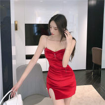 Dress Autumn 2020 Red, black S,M,L Short skirt singleton  Sleeveless commute V-neck High waist Solid color Socket One pace skirt routine camisole 18-24 years old Type A Korean version Inlaid diamond, open back, chain, stitching, zipper 30% and below polyester fiber