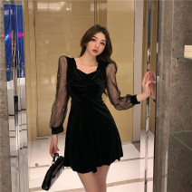 Dress Spring 2021 black S,M,L Short skirt singleton  Long sleeves commute V-neck High waist Solid color Socket A-line skirt routine Breast wrapping 18-24 years old Type A court Hollowed out, stitched, gauze net 30% and below polyester fiber